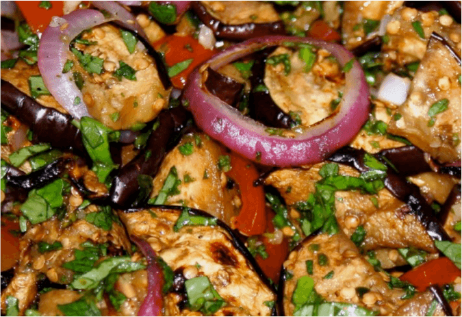 Grilled Eggplant and Sun-dried Tomato Salad